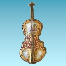 19th C French Porcelain Patch Box, Violin Form