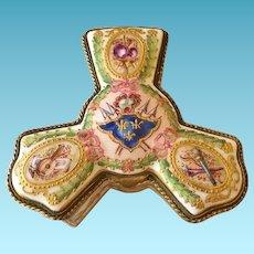 19th C.German Porcelain Patch Box, Eugene Clauss, Unusual Shape
