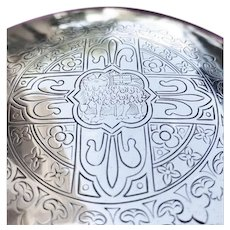 19th C.French Silver Paten for a Chalice, Sacred Lamb Decor