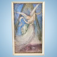 A Fine Watercolor French Memorial, Angel with Daisies, 1955