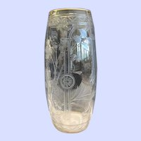 Intaglio Cut Glass Vase, Attrib. to Moser, CA.1920's