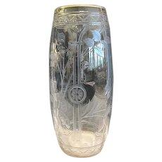 Intaglio Cut Glass Vase, Attrib. to Moser, CA.1920's