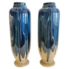 French Art Deco Pair Pottery Vases, Blue Flambe Glaze