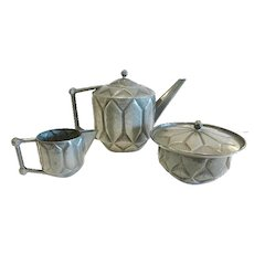 "French Art Deco Pewter Coffee/Tea Set, by ""Chanal"""