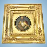 "Antique Framed Wax Portrait of ""Charlemagne"", CA.1840"