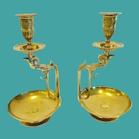 Pair of Antique French Bronze Napoleon III Candlesticks, CA.1870