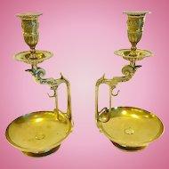 Pair of Antique French Bronze Napoleon III Candlesticks, CA.1870