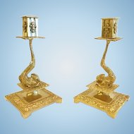 Pair of French Dore' Bronze Dolphin Candlesticks, CA.1880