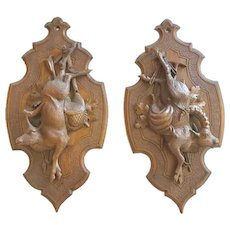 """Pair of Antique Carved """"Black Forest"""" Wall Plaques, CA.1880"""