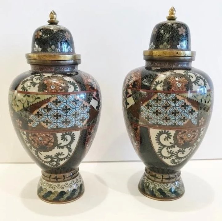 Pair Of 19th Century Japanese Cloisonne Vases Ca1890 Butler And