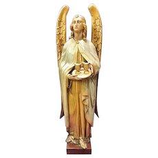 Angel Gabriele, 19th C. Carved & Polychromed Figure