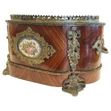 Antique French Napoleon III Table Jardiniere, Marquetry, Porcelain Plaque, Bronze Mounted, CA.1870