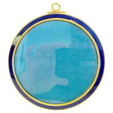 Antique Louis XVI Style Round Frame, Dore' Bronze and Cobalt Enamel, CA.1880