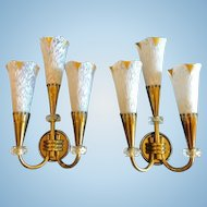 Pair of French Moderne Wall Sconces, 1940-50's