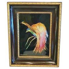 """Camille Faure' Enamel on Copper Plaque, """"Oiseau Exotique"""""""