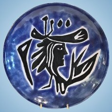 Jean Lurcat Modernist Wall Plaque, Cobalt Blue,CA.1940's