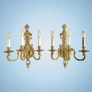 Pair of Antique French Bronze Wall Sconces, Louis XV Style