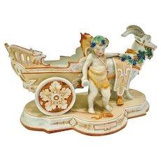 KPM Antique Porcelain, Putti and Goat cart, CA.1880