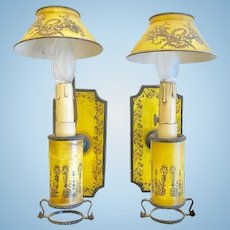 Pair of Vintage Tole Sconces, European, CA.1920-30's