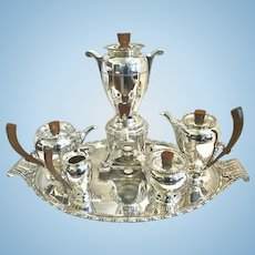 French Art Deco Tea and Coffee Set, Silverplate, Lyon Silversmiths, CA.1925-30's