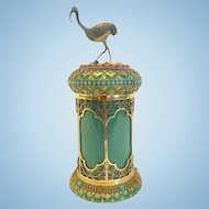 Chinese Silver Gilt and Jade Canister, CA.1900