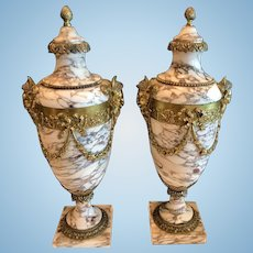 Pair of French Marble and Dore' Bronze Cassolettes, CA.1880