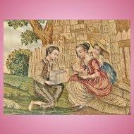 French Silk Needlework, Bucolic Scene, Empire Period CA.1820