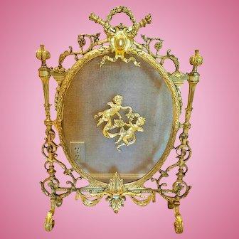 Antique French Dore' Bronze Firescreen, Louis XVI Style, CA.1880