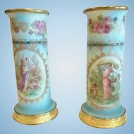 Pair of Tapestry Porcelain Vases,French, Gilt Bronze Mounts, CA.1890