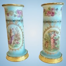 Pair of Tapestry Porcelain Vases,French, Gilt Bronze Mounts, CA.1890