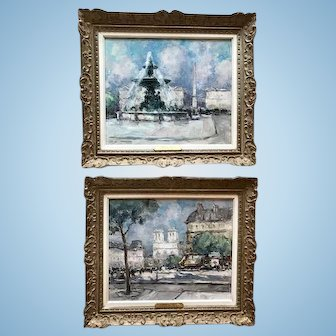 Pair of French Paris Scenes, Oil on Canvas, CA.1930-40's
