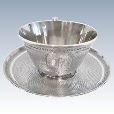 French Silver Presentation Cup and Saucer, Pierre Queille, Paris CA.1840