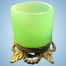French Green Opaline Toothpick or Match Holder, CA.1840