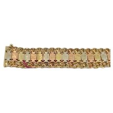 "14KT 3-Color Gold Bracelet, 7"" long"