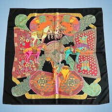 "Hermes Silk Scarf, ""Art des Steppes:, Annie Faivre, 1991"