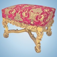 Pair of French Regency Stools/Benches, Carved Giltwood, CA.1850