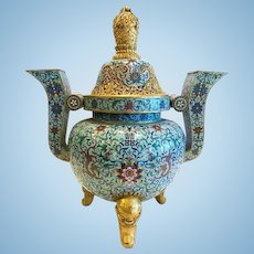 Chinese Cloisonne Censer, Qing Dynasty
