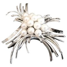 Pearl and Silver Kitamura Brooch, CA.1960's