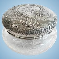 Large French Silver and Cut Crystal Bon Bon Box, CA.1880