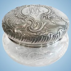 Large French Silver and Cut Crystal Bon Bon Box, CA.1880