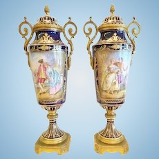 Pair of Sevres Type Covered Vases, Signed, CA.1880