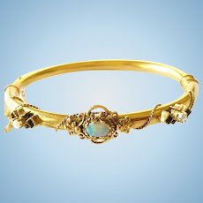 14kt Gold Bracelet, Opal and Seed Pearls, CA.1920's