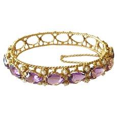 A Fine 14kt Gold and Amethyst Bracelet