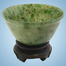 Chinese Spinach Green Jade Cabinet Bowl, CA.1920
