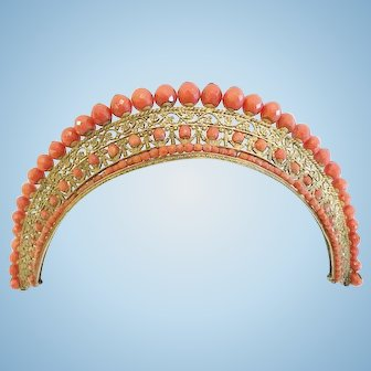 An Elaborate French Tiara, Coral and Gold, Empire Period, CA.1820