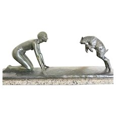 Art Deco Bronze by Paul Silvestre,Playful Nude and Young Goat, CA.1930