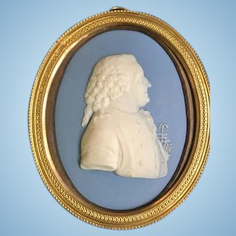 Wedgwood Jasperware Miniature Portrait of Carl Linnaeus, late 18th C.