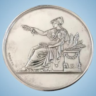 French Silver Neo-Classical Silver Medallion, dated 1875