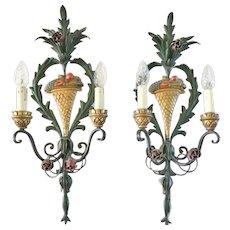 Italian Tole Decorated Sconces, CA.1930's