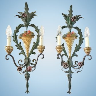 Italian Tole Decorated Sconces, CA.1930's